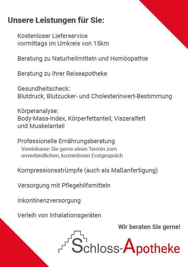 Plakat der Leistungen im Überblick